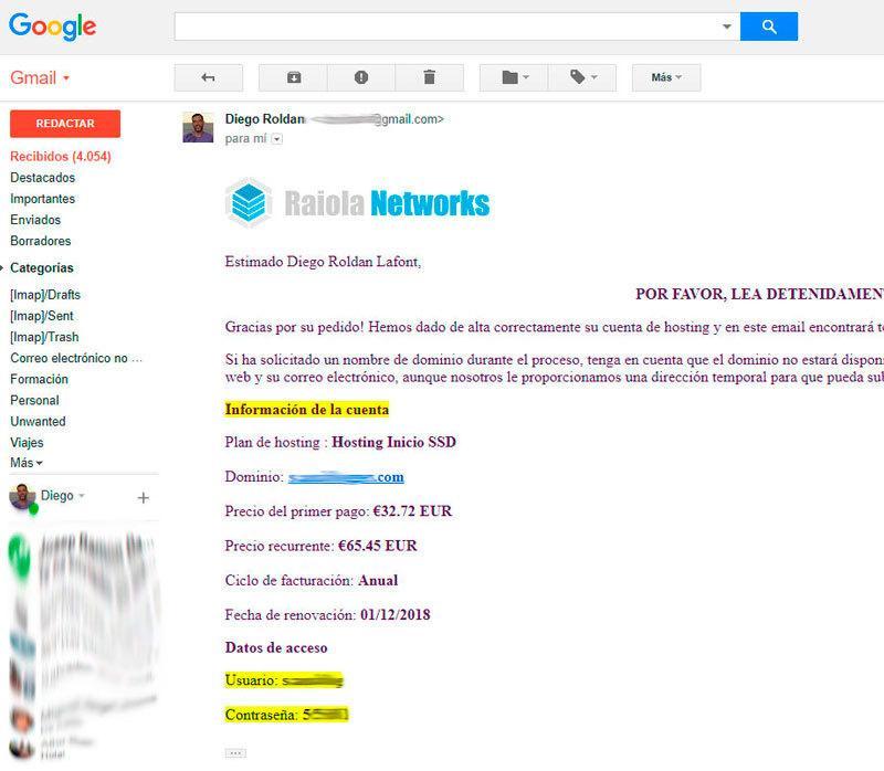 confirmación Raiola Gmail