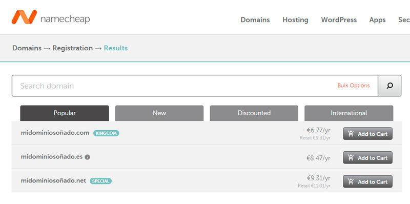 ¿Cuánto cuesta un dominio en Namecheap?